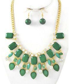 411297 Gold Tone / Green Acrylic & Clear Rhinestone / Lead&nickel Compliant / Necklace & Fish Hook Earring Set