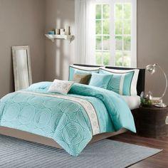 Madison Park Phoebe 7-Piece Comforter Set in Teal - BedBathandBeyond.com