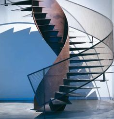 Modern Staircase Design Ideas - Search pictures of modern stairs and uncover design as well as layout ideas to influence your very own modern staircase remodel, consisting of unique barriers and storage . Metal Stairs, Modern Stairs, Corten Texture, Stairs Architecture, Architecture Design, Habitat Collectif, Escalier Design, Stair Handrail, Railings