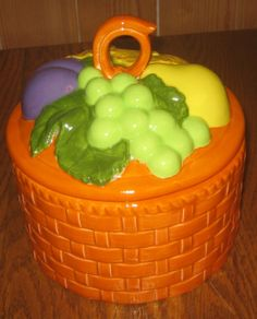 Orange ceramic Basket with Fruit by vintagehouses on Etsy, $6.00