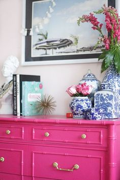 Guest Bedroom | Painted Furniture | Bamboo Dresser | Regency | Ginger Jar | Beach Print | Pink Dresser  www.styleyoursenses.com