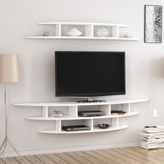 unit design Living Areas Alvino Wall Mounted TV Unit Freestanding White Mode… – Wall units – Home Decor Tv Unit Decor, Tv Wall Decor, Wall Tv, Tv Wall Shelves, Wall Mounted Tv Unit, Mounted Tv Decor, Mounting Tv On Wall, Tv Wanddekor, Tv Unit Furniture Design