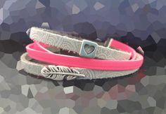 Wickelarmbänder - Wickelarmband Leder grau pink Feder Mandala  - ein Designerstück von SchmuckKitchen bei DaWanda
