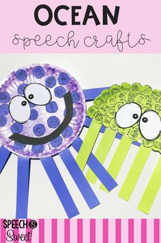 Ocean themed crafts for speech-language therapy! Your students will love making these silly ocean creatures! Speech Therapy Themes, Preschool Speech Therapy, Preschool Songs, Speech Language Therapy, Speech And Language, Speech Language Pathology, Articulation Activities, Speech Therapy Activities, Language Activities