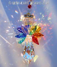 Swarovski Crystal Suncatcher LARGE Angel Aurora Borealis Body and Colorful 7 Healing CHAKRA Colored Wings Lilli Heart Designs
