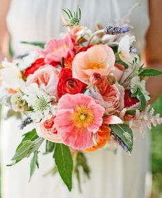 In love with the poppies in this bouquet!! Also loving the these shades of pinks + reds together. Bouquet by Primary Petals. #wedding