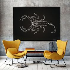 Super New, Original, Modern Embroidered Canvas Wall Art. Elegance and uniqueness of this Artwork will create and expresses your style. Embroidered Scorpion on black canvas.  Canvas Sizes: 8x10 11x14 16x20 18x24 24x36  Colors: Black canvas , white thread White canvas , black thread  PACKAGING / SHIPPING - I ship art flat, carefully packaged in a corrugated Boxes - For info on shipping, use the Shipping & Policies tab above.   FOR MORE ARTS, PLEASE VISIT: https://www.etsy.com...