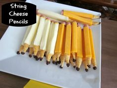 String Cheese Pencils- Mozarella or Colby String Cheese sticks inch-thick slices of bologna Mustard Bugles Corn Snacks Raisins Corn Snacks, Lunch Snacks, Cheese Snacks, Cheese Appetizers, Cheese Recipes, Lunch Box, Creative Snacks, Healthy Snacks For Kids, Snacks Kids