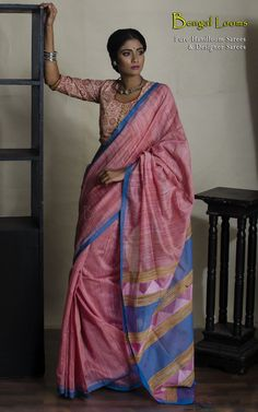 Pure Handloom Khadi Silk Saree with woven Jamdani pallu in baby pink and blue color combination.