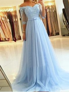 A-Line Off-the-Shoulder Lace Tulle Long Prom Dresses Formal Evening Gowns 601815 Evening Dresses With Sleeves, Formal Evening Dresses, Evening Gowns, Dress Formal, Evening Party, Cheap Prom Dresses, Tulle Lace, Wedding Party Dresses, Marie