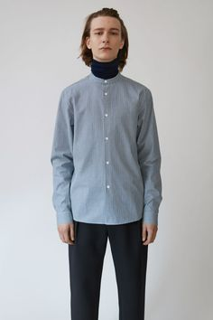 Acne Studios Pine Small Stripe blue is a regular fit casual shirt with a stand up collar and button front.