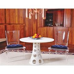 Henderson Hollywood Regency Acrylic Blue Mohair Velvet Dining Chair. #kathykuohome