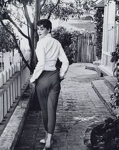 Again, Audrey looking stylish (as always) in a more casual pant look. #styleicon #modcloth