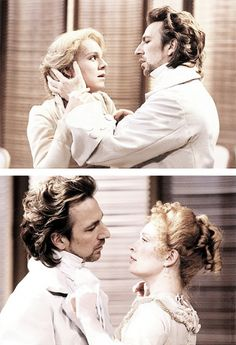 "Alan Rickman as Le Vicomte de Valmont in ""Les Liaisons Dangereuses"" with Juliet Stevenson (top) and Lindsay Duncan (bottom) Severus Hermione, Alan Rickman Severus Snape, Severus Rogue, Alan Rickman Always, Emma Thompson, Half Blood, Celebs, Celebrities, Beautiful Men"