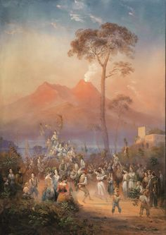 Carlo Bossoli -  (Davesco (Lugano) 1815 - Torino 1884)       PILGRIMAGE TO OUR LADY OF THE ARC. Light Study, Folk Dance, Naples Italy, Painting People, Southern Italy, Lugano, Pompeii, Landscape Lighting, Our Lady