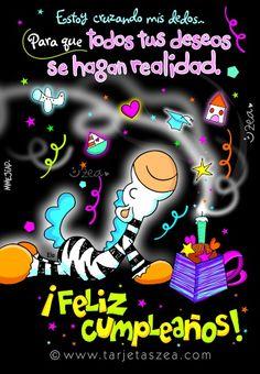 Tarjeta de cumpleaños para realizar deseos-Cebra Ele pidiendo deseos de cumpleaños. © ZEA www.tarjetaszea.com