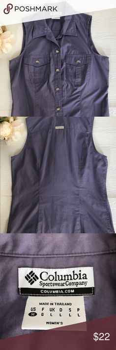 Columbia Purple Two Pocket Button Down Tank Excellent Condition  Size M 100% Cotton Fitted Columbia Tops Tank Tops