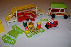 VINTAGE! Fisher Price Little People 992 Camper-Jeep-Motorcycle-Family-Boat+++ #FisherPrice