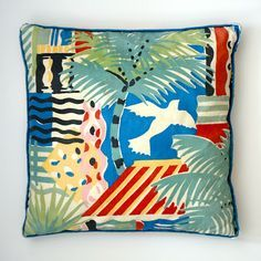 Collier-Campbell joyful signature fabric, Cote d'aZur, on out scrappy cushion Textile Prints, Textile Design, Textile Art, Textiles, Fabric Patterns, Print Patterns, Floor Cloth, Handmade Pillow Covers, Weaving Art