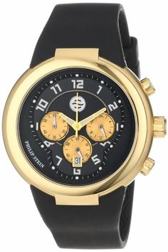 Philip Stein Unisex 32-AGB-RBB Active Gold and Black Chronograph Rubber Strap Watch