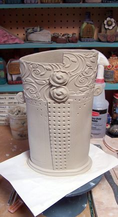 could be a nice idea for a mug only with even lip.  Also could be a nice utensil holder.