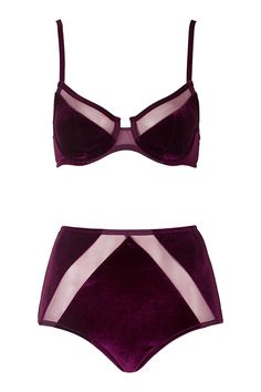 Velvet and Mesh Underwire Bra and Knickers