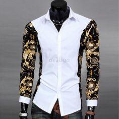 Mens-Slim-Fit-Casual-Dress-Shirt-Floral-Print-Long-Sleeve-Blouse-Lapel-Tops-DEG