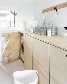 Laundry Closet, Laundry In Bathroom, Laundry Room Inspiration, Home Decor Inspiration, Plywood House, Plywood Interior, Laundry Room Design, Open Plan Kitchen, Küchen Design
