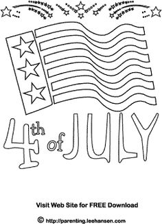 july 4th flag coloring page
