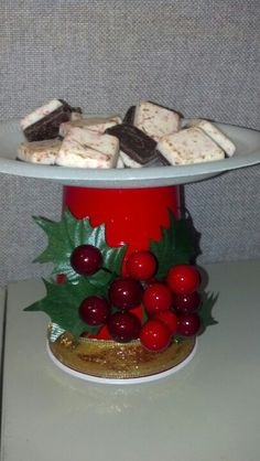 """My redneck pedestal plate made with a """"Red Solo"""" cup.-minus Christmas decorations with snacks??"""