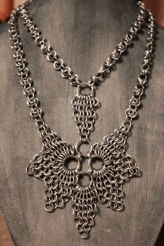 Silver Colored Aluminum Chainmail Necklace by EchelonsOfElliott, $100.00