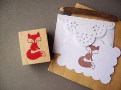 This cutesy Fox rubber stamp embellishes your notes, tags, wrapping paper, and woodland themed crafts to satisfy your foxy obsession!! Hes too cute-