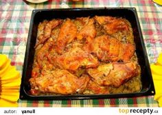 Králík či kuře proti skleróze :-)) recept - TopRecepty.cz Czech Recipes, Ethnic Recipes, Tandoori Chicken, Poultry, Ham, Low Carb, Treats, Cooking, Czech Food