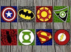 Items similar to Superhero Canvas, Super hero wall art, handpainted by KraftyLife on Etsy Superhero Emblems, Superhero Signs, Superhero Canvas, Superhero Wall Art, Pixel Art, Avengers Birthday, Art Logo, Creations, Just For You