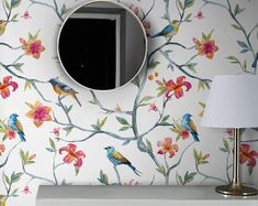 Spring removable wallpaper || Birds and flowers wall mural || Watercolor painting || Floral prints || Peel and stick wall paper #25