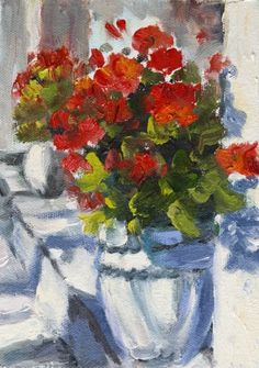 KMD2622 Brilliant in Red floral, reds, flowers, painting by artist Kit Hevron Mahoney