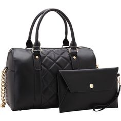 Dasein Quilted Satchel with Matching Wristlet - Black - Satchels ($36) ❤ liked on Polyvore featuring bags, handbags, black, dasein purse, pocket handbag, quilted handbags, pocket purse and studded purse