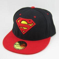 New DC Superman Adjustable Snapback Red Hat cap flat hat hiphop baseball Black