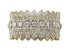 Buccellati gold lace-effect cuff bracelet with diamonds.