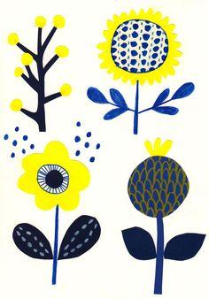 70's style scandinavian flower motifs print Rachael Cocker