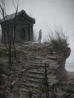 Inspiration for location if I weren't to go through with the cemetery. I like how eerie this location looks. The solitude, single statue, and decrepit nature of the ground/stairs. Haunted Places, Abandoned Places, Real Haunted Houses, Abandoned Mansions, Abandoned Houses, Images Esthétiques, Old Cemeteries, Graveyards, Cemetery Art