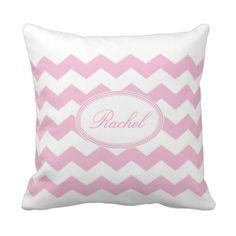 Pink Chevron Personalized Pillow