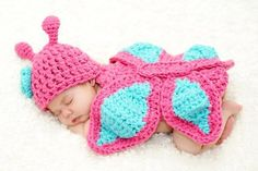 Baby Girl Newborn Crochet Butterfly Flower Hat Beanie Onesies Outfit Costume Photography Props Pink&Light Turquoise... by decohom