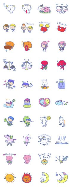 "LINE sticker by PLANET22 titled""Constellation Characters"" LINEスタンプ「星座☆ゆにば〜す」星うらないでおなじみの12星座と、人気の星座と惑星たちの、たくさん使えるスタンプです☆"