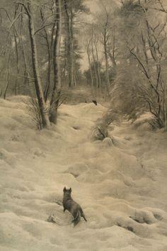 Love this winter woods scene with fox. Joseph Farquharson