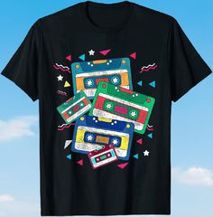 Colourful 80s Cassettes T-shirt Tangled Up In You, Colored Labels, Vhs Cassette, Vintage Looks, Things To Come, Kids, Mens Tops, T Shirt, Young Children