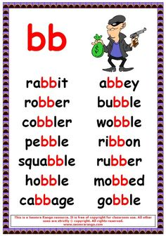 Phonics poster to show words with a double b in the middle. Phonics Reading, Teaching Phonics, Phonics Activities, Kindergarten Reading, Teaching Reading, Learning, Jolly Phonics, English Phonics, English Vocabulary