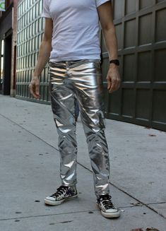 Men's Silver Metallic Jeans - Mood Sewing Network