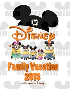 MINIONS Disney Family Vacation - Digital Image - Personalized to Represent Your Family up to 6 People - Great Idea for Family Shirts!