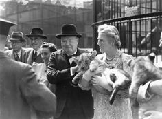 13 of Big 4 July British wartime prime minister Winston Churchill with his wife Clementine holding a lion cub during a trip to London Zoo. Winston Churchill, Chessington Zoo, Fréquence Radio, International Cat Day, Lion Cub, Vintage London, Cat Memes, Big Cats, Vintage Photos